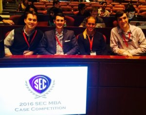 2016 SEC MBA Case Competition: The team consisted of Caroline Rohde-Moe, Ben Tedford, Colin Wattigney, and Lucas Harth.