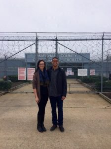 Bramlett and another in front of Marshall County Correctional Facility
